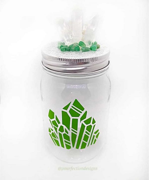 Green Themed Crystal Jar