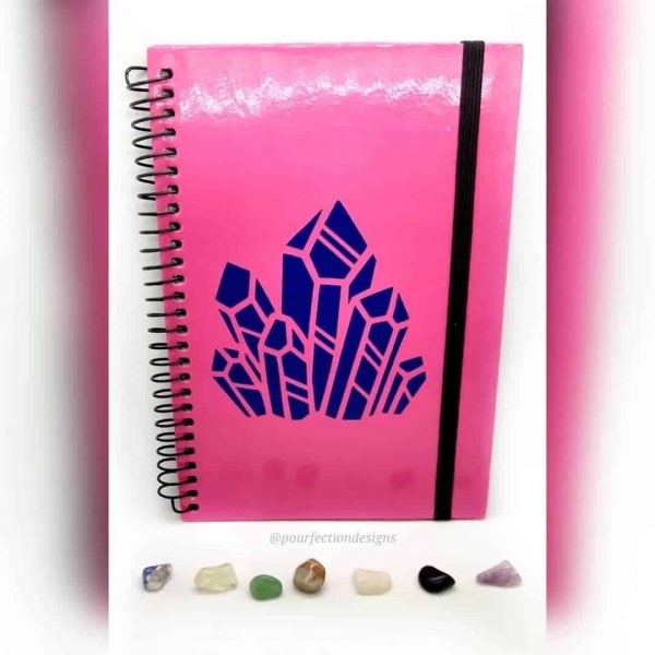 Pink Notebook/Journal with Blue Crystal Decal