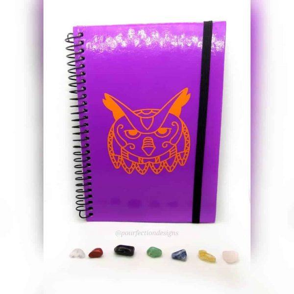 Purple Notebook/Journal with Orange Mandala Owl Decal