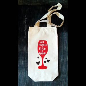 Love Wine Canvas Wine Tote