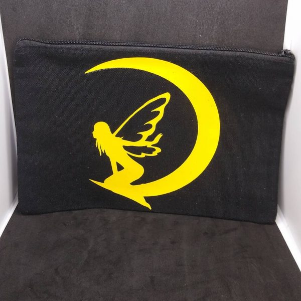 Fairy Moon Black Canvas Zipper Pouch