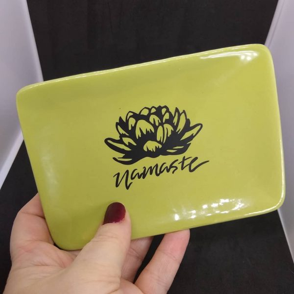 Lotus and Namaste Sage Green Ceramic Dish