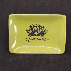 Lotus and Namaste Sage Green Ceramic Dish