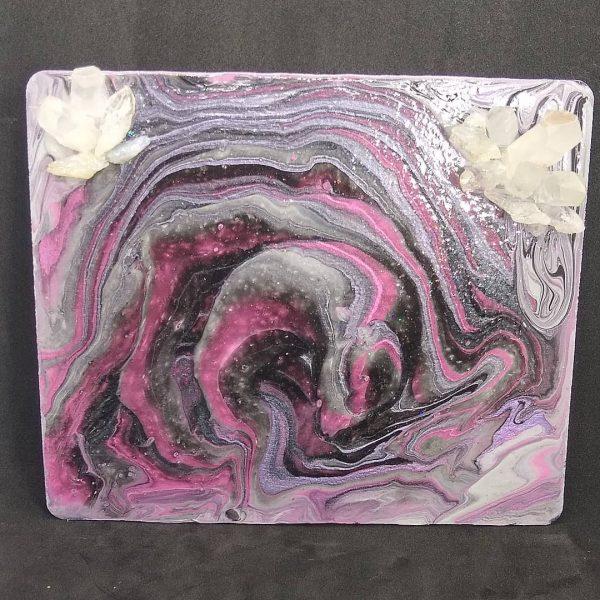 Pour Paint Trinket Tray With Quartz Points