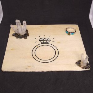 Wooden Trinket Tray with Quartz Points Obsidian