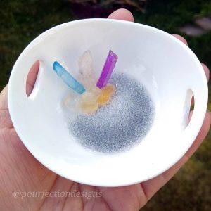 Colorful Ceramic Trinket Bowl With Quartz