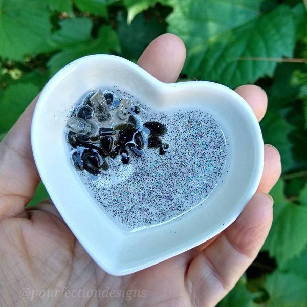 Glittery Ceramic Heart Trinket Dish